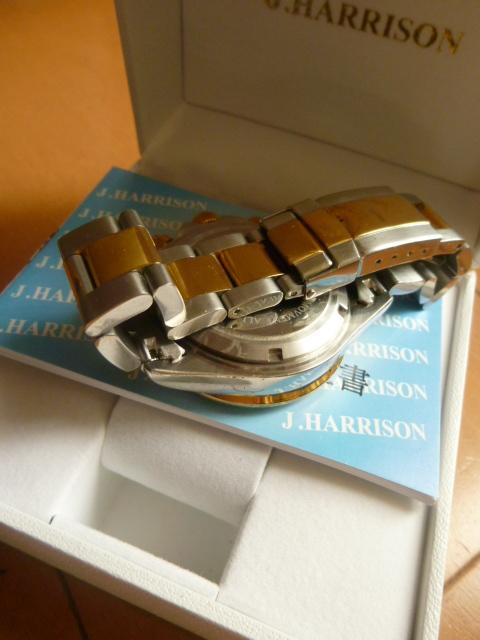 腕時計 J・HARRISON  ジョン・ハリソン 自動巻き& 手巻き多機能付き 取説付き 側金色 オリジナルベルト付き  稼動品 _画像7