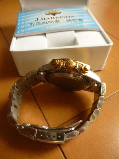 腕時計 J・HARRISON  ジョン・ハリソン 自動巻き& 手巻き多機能付き 取説付き 側金色 オリジナルベルト付き  稼動品 _画像6