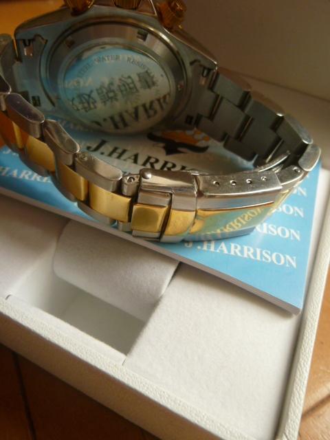 腕時計 J・HARRISON  ジョン・ハリソン 自動巻き& 手巻き多機能付き 取説付き 側金色 オリジナルベルト付き  稼動品 _画像8