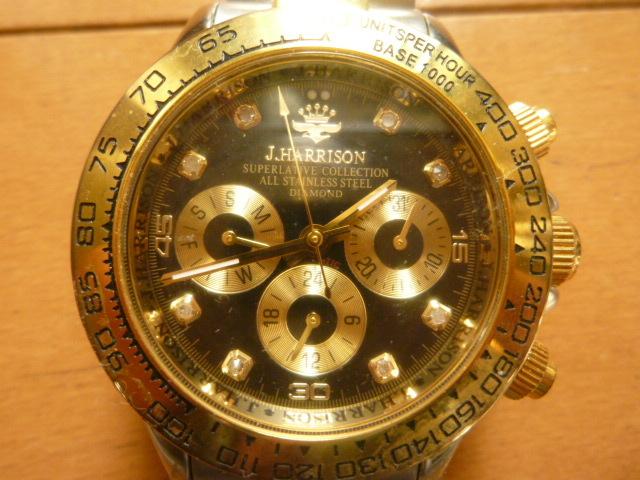 腕時計 J・HARRISON  ジョン・ハリソン 自動巻き& 手巻き多機能付き 取説付き 側金色 オリジナルベルト付き  稼動品 _画像1