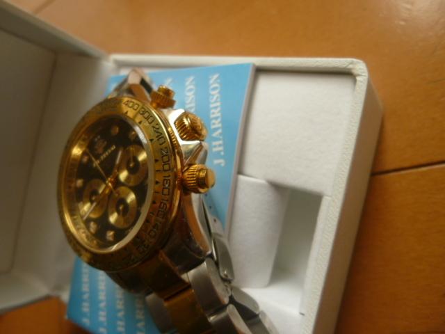 腕時計 J・HARRISON  ジョン・ハリソン 自動巻き& 手巻き多機能付き 取説付き 側金色 オリジナルベルト付き  稼動品 _画像4