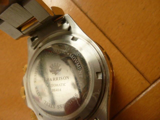 腕時計 J・HARRISON  ジョン・ハリソン 自動巻き& 手巻き多機能付き 取説付き 側金色 オリジナルベルト付き  稼動品 _画像3