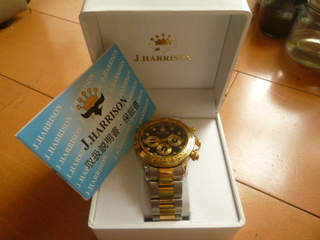 腕時計 J・HARRISON  ジョン・ハリソン 自動巻き& 手巻き多機能付き 取説付き 側金色 オリジナルベルト付き  稼動品 _画像9
