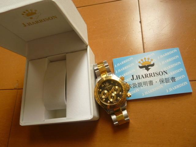 腕時計 J・HARRISON  ジョン・ハリソン 自動巻き& 手巻き多機能付き 取説付き 側金色 オリジナルベルト付き  稼動品 _画像2