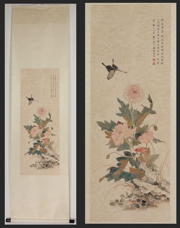 【掛け軸】「花蝶図 林微因」中国 近代女書画家 作家 教師 肉筆保證 唐物唐本