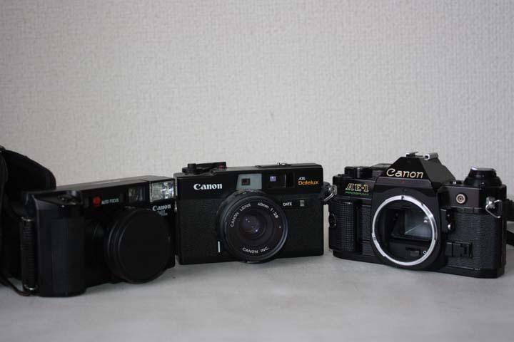 ★歴史あるカメラ屋さん整理品★Canon AE-1 A35 Datelux ML フィルムカメラ三台まとめて 詳細不明 ジャンク 最落なし MA128