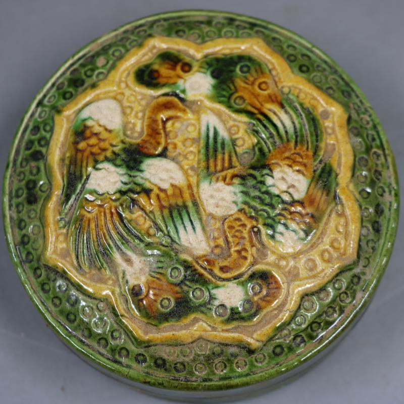 中国古董品 唐三彩 浮き彫り 花鳥 印泥盒 置物 賞物 J164