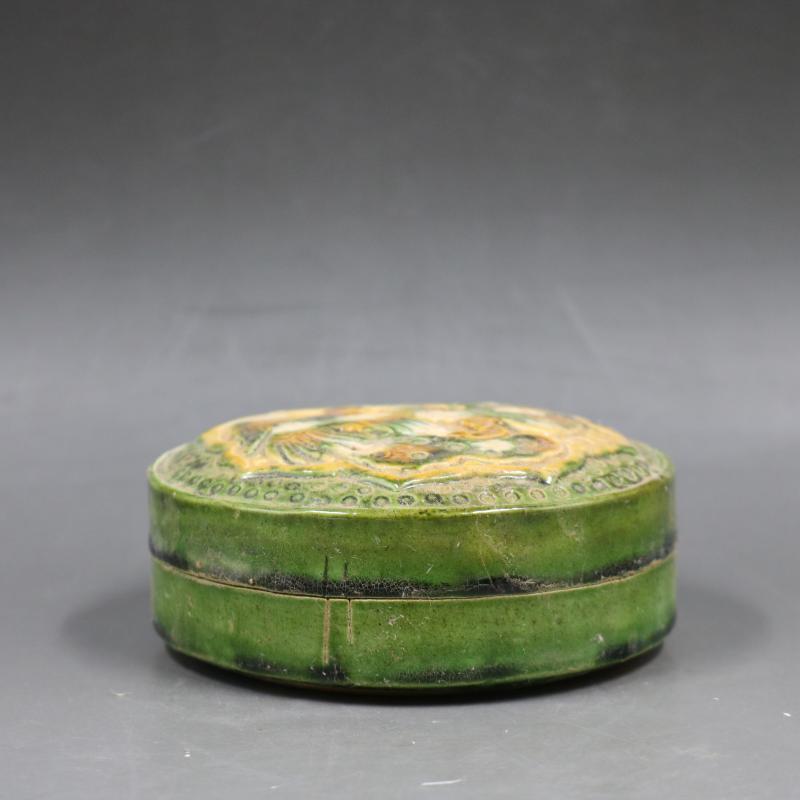 中国古董品 唐三彩 浮き彫り 花鳥 印泥盒 置物 賞物 J164_画像2