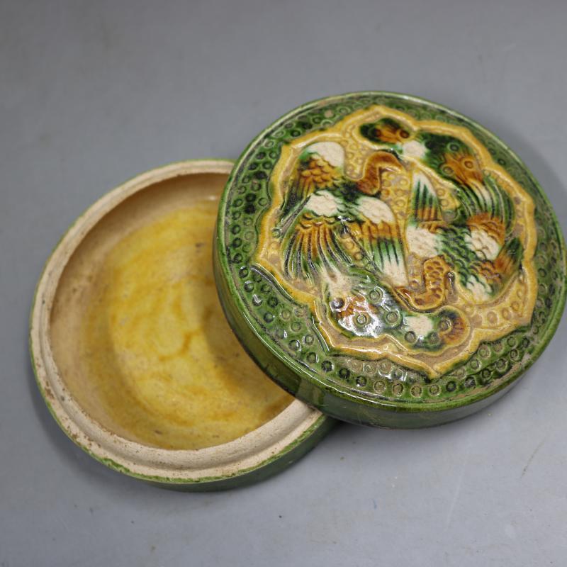 中国古董品 唐三彩 浮き彫り 花鳥 印泥盒 置物 賞物 J164_画像3