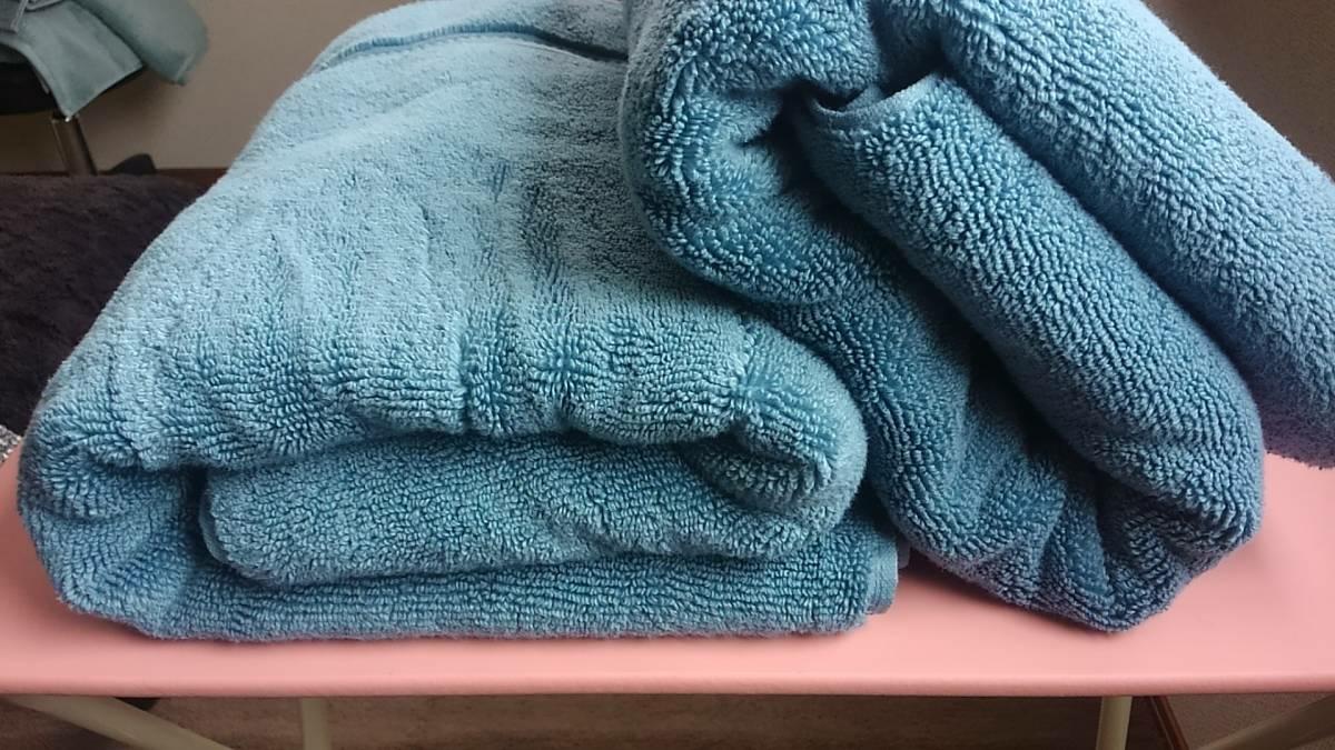 NEW【GRANDEUR グランドール 最高級 大判 バスタオル 2枚セット】ブルー コットン100% 敏感肌 ベビー ビーチ プール_画像2