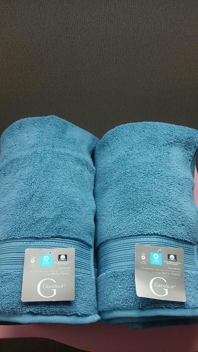 NEW【GRANDEUR グランドール 最高級 大判 バスタオル 2枚セット】ブルー コットン100% 敏感肌 ベビー ビーチ プール_画像4