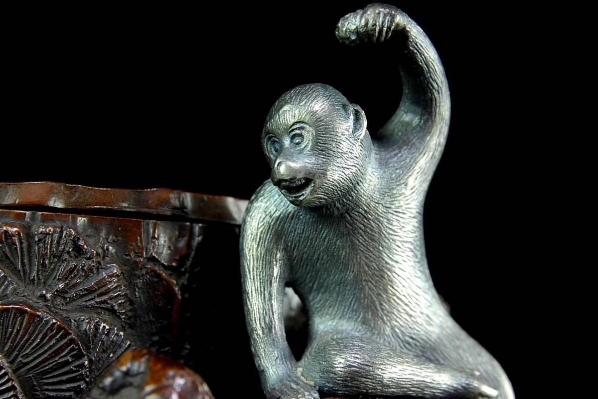 ◆櫟◆5 明治金工 宮尾栄助 銅製 賢人雉猿彫刻花入 32.5cm 10kg 金象嵌 箱付 細密彫 唐物骨董 [B438]OVg/3TNN/_画像3
