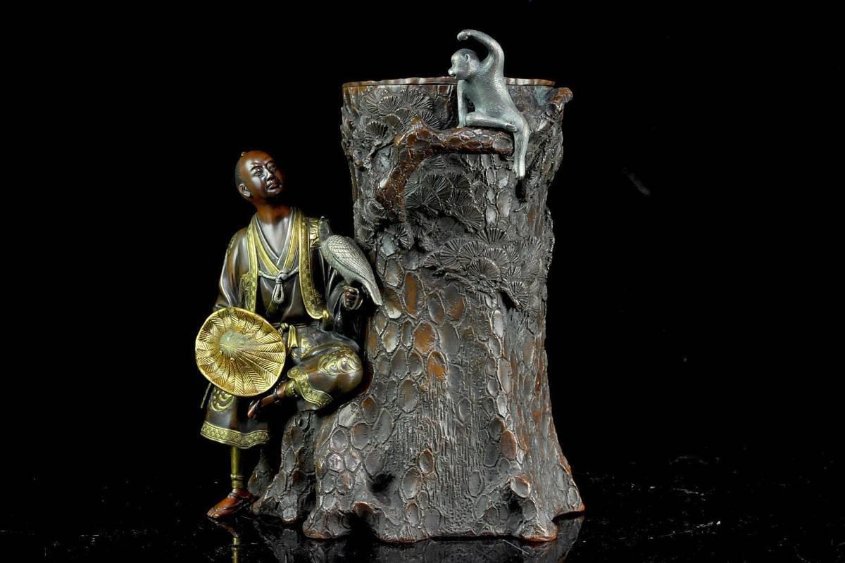 ◆櫟◆5 明治金工 宮尾栄助 銅製 賢人雉猿彫刻花入 32.5cm 10kg 金象嵌 箱付 細密彫 唐物骨董 [B438]OVg/3TNN/_画像2