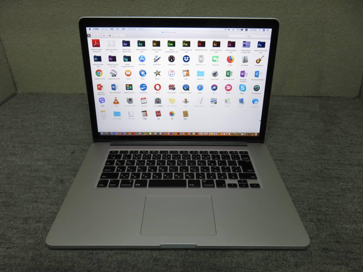 MacBook Retina A1398 ◆ Mid 2015◆ 高速Core i7 / 16GB / PCI-e 512GB ◆ 最新 macOS 10.13.6 ◆Adobe, Office付◆中古美品◆15.4型_画像2