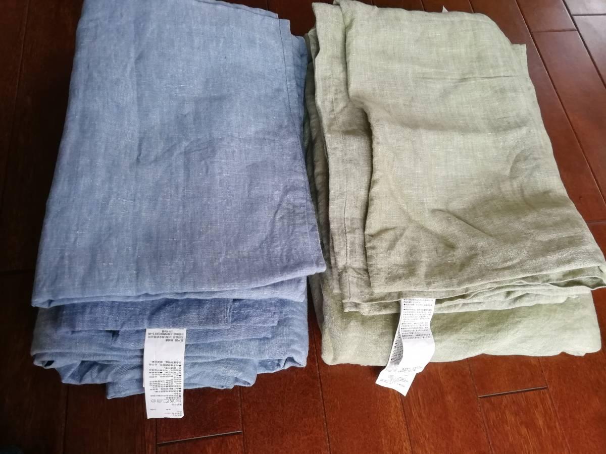 新品同様 無印良品布団カバー2点+枕カバー4点 シングル150*210cm 麻100% 6点セット