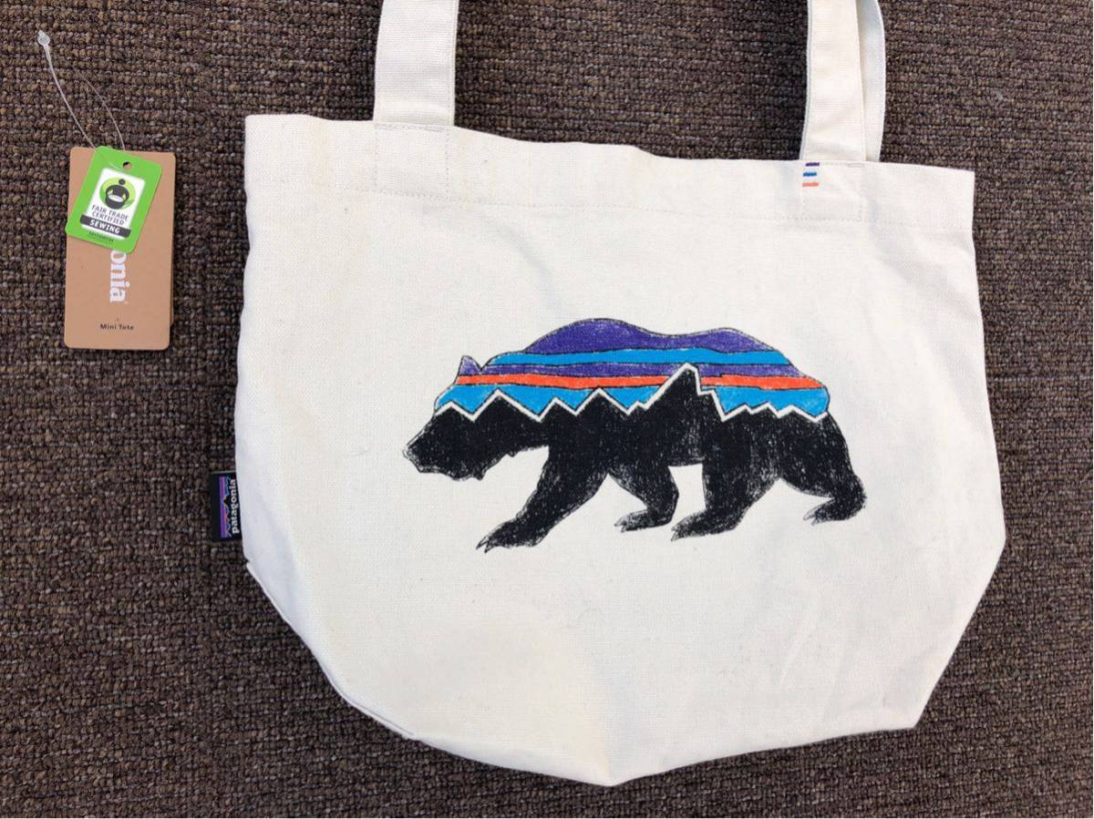 patagonia パタゴニア Fitz Roy Bear Mini Tote Bag フィッロイベア ミニトートバッグ オーガニックコットン クマ 購入後、数回使用のみ。_画像3