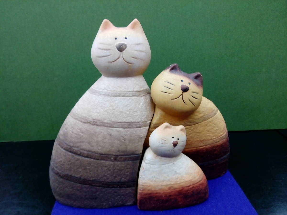 [新品 未使用]猫好き必見!! ハンドメイド ネコ親子陶器置物