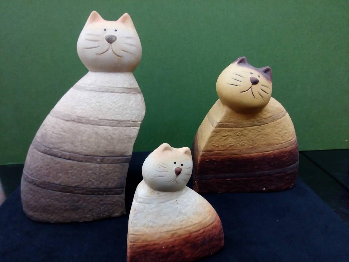 [新品 未使用]猫好き必見!! ハンドメイド ネコ親子陶器置物_画像2
