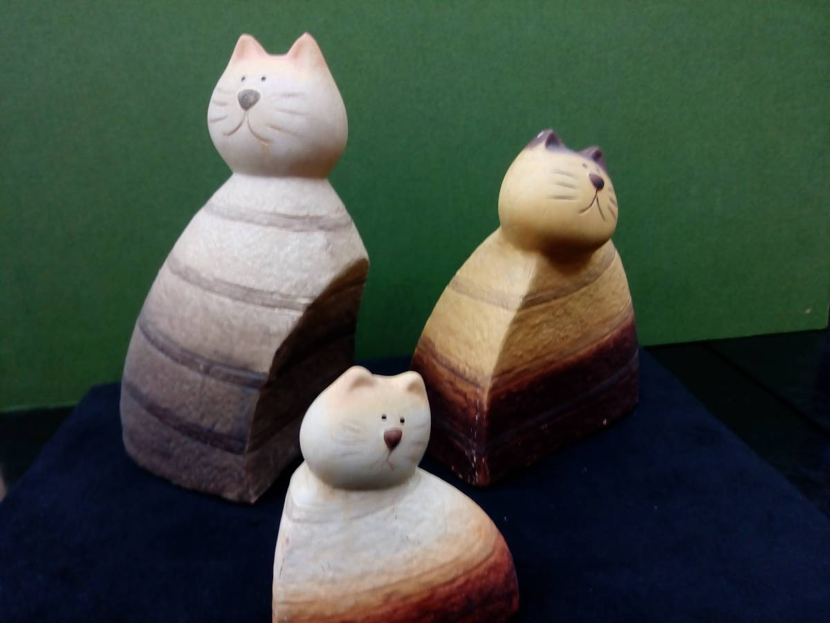 [新品 未使用]猫好き必見!! ハンドメイド ネコ親子陶器置物_画像4