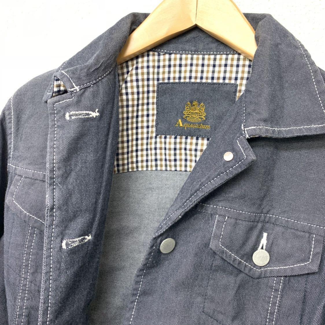 高級 アクアスキュータム Apuascutum セットアップ デニム地 上下 スーツ ジャケット スカート グレー 9 レディース (株)レナウン_画像8