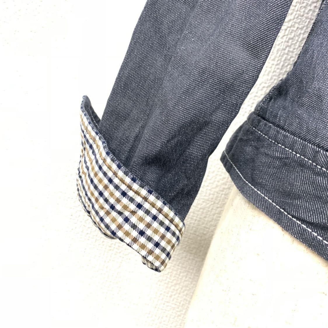 高級 アクアスキュータム Apuascutum セットアップ デニム地 上下 スーツ ジャケット スカート グレー 9 レディース (株)レナウン_画像7