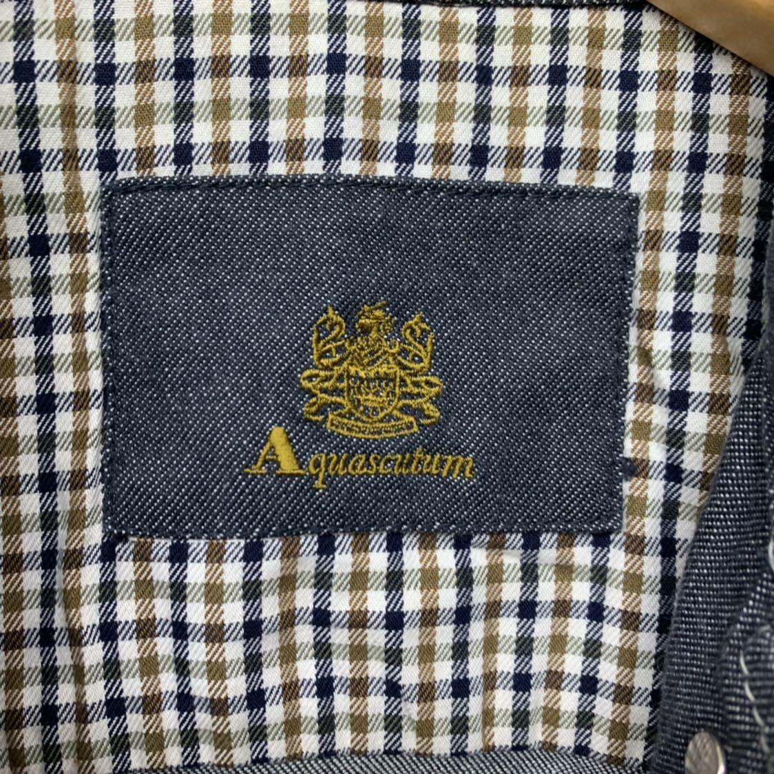 高級 アクアスキュータム Apuascutum セットアップ デニム地 上下 スーツ ジャケット スカート グレー 9 レディース (株)レナウン_画像9