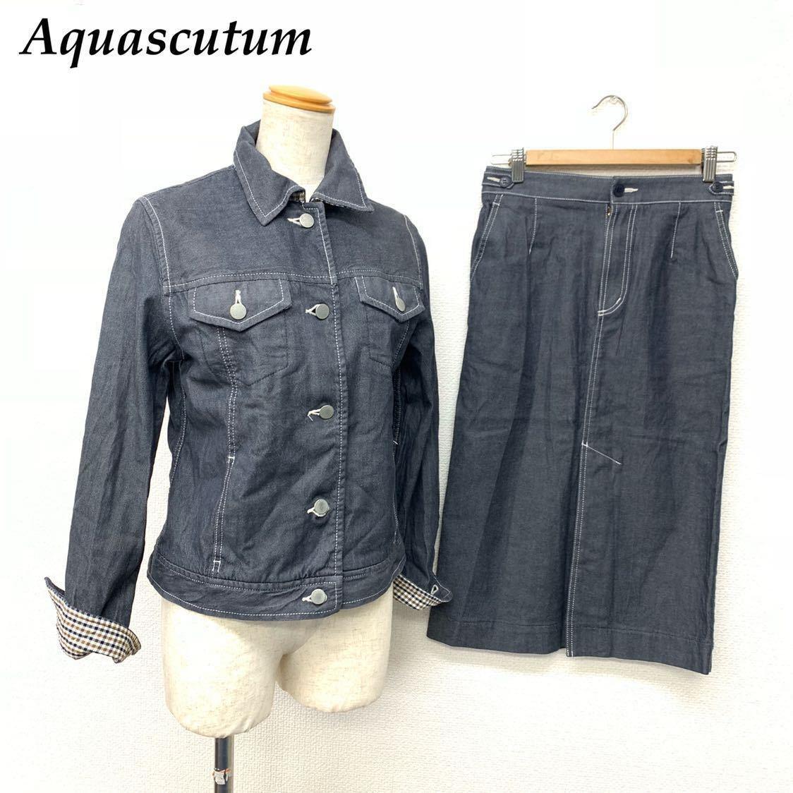 高級 アクアスキュータム Apuascutum セットアップ デニム地 上下 スーツ ジャケット スカート グレー 9 レディース (株)レナウン