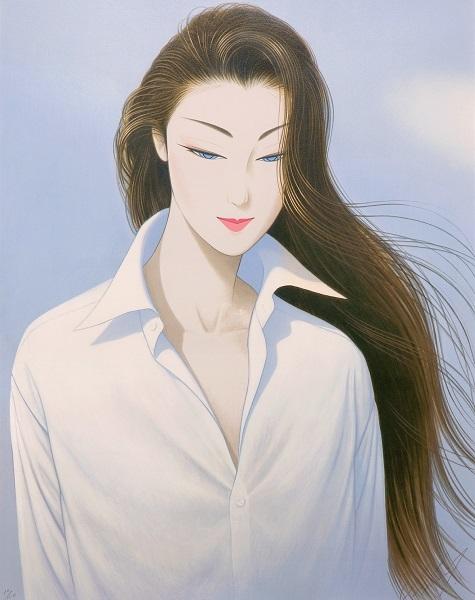 鶴田一郎 大判リトグラフ 『白いシャツ』 サイン入限定150部 真作保証 ロングヘアー 日本美人 クールビューティ 美人画 女性像 婦人像 絵画_画像4