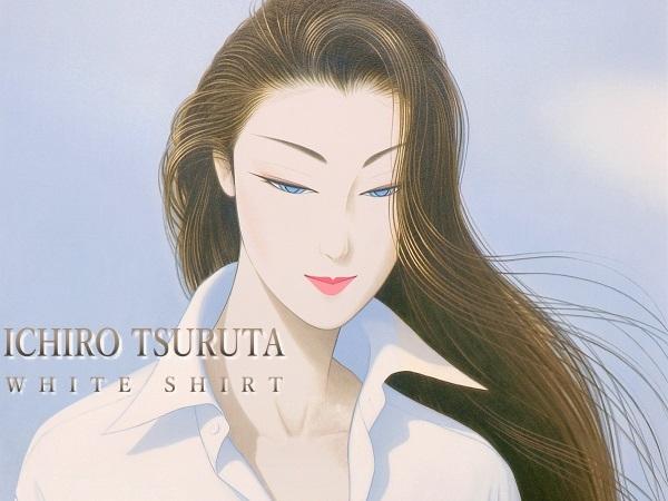 鶴田一郎 大判リトグラフ 『白いシャツ』 サイン入限定150部 真作保証 ロングヘアー 日本美人 クールビューティ 美人画 女性像 婦人像 絵画