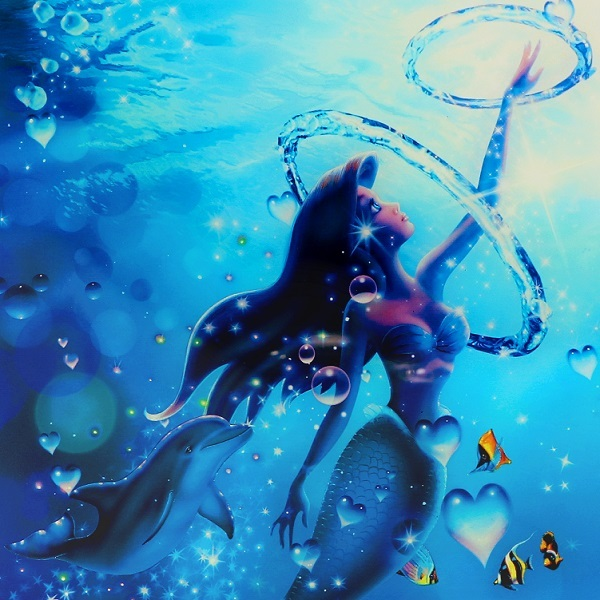 ラッセン 超レア 特別エディション ディズニーアリエルコラボ ダイヤ入ミッキーブロンズ付 限定100部 イルカ 絵画 人魚姫 リトルマーメイド_画像6