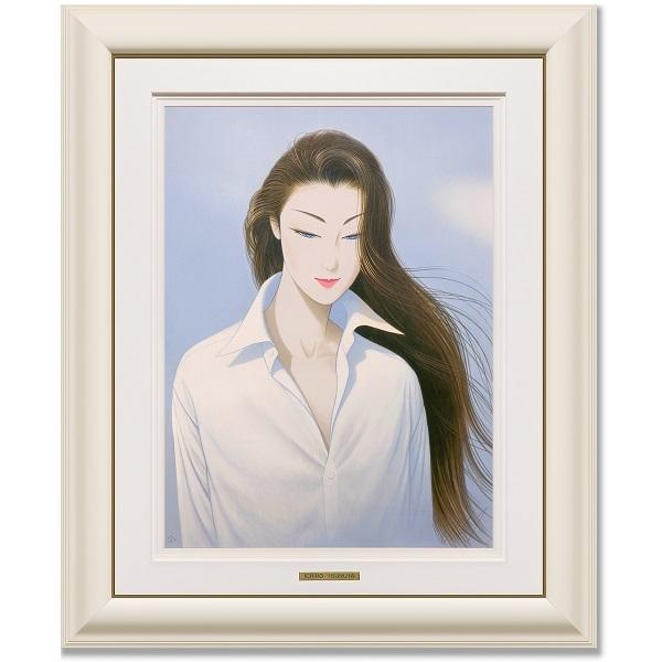 鶴田一郎 大判リトグラフ 『白いシャツ』 サイン入限定150部 真作保証 ロングヘアー 日本美人 クールビューティ 美人画 女性像 婦人像 絵画_画像2