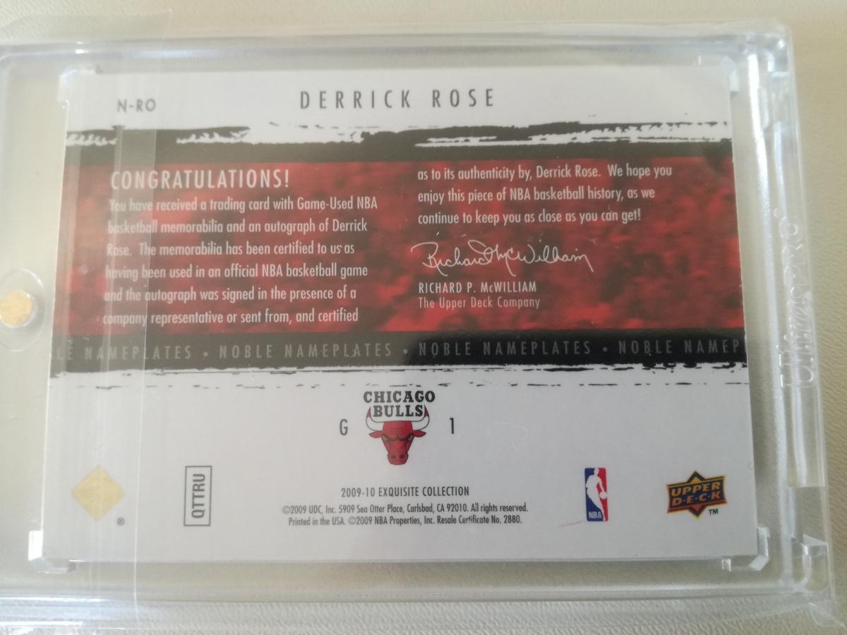 【レア】NBA DERRICK ROSE サインカード(#/20) 09-10 Exquisite Collection Noble Nameplates #N-RO デリック・ローズ_画像3