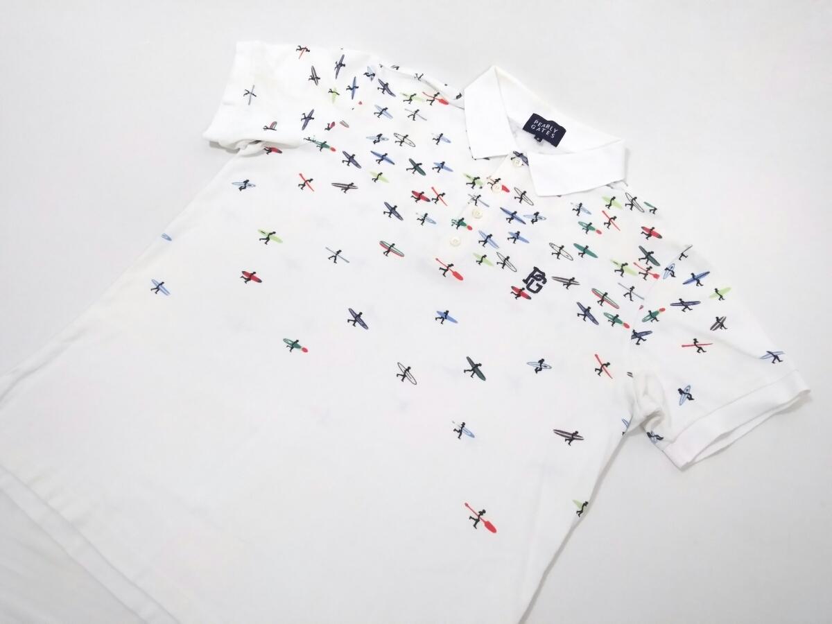 豪華2点 PEARLY GATES JACK BUNNY 吸水速乾 半袖ポロシャツ サーフィン メンズ6 パーリーゲイツ ゴルフウェア ホワイト ピンク 1904140_画像2