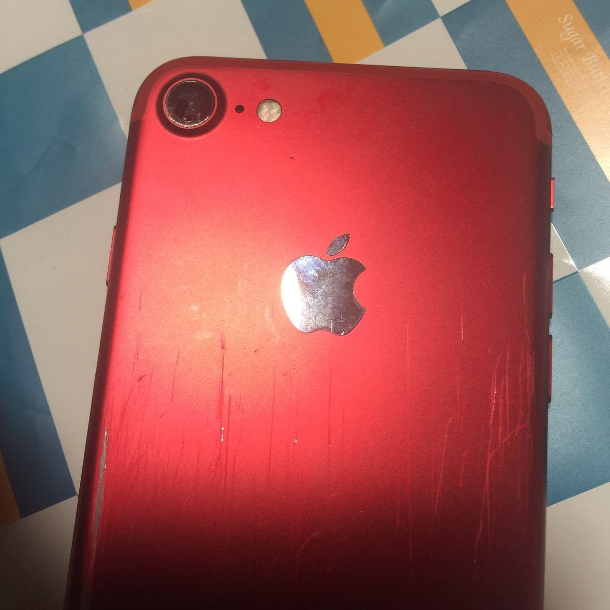 au iPhone 7 128GB (PRODUCT) レッド 本体 携帯 中古 スマホ apple アップル[ ジャンク] 送料無料。 全体 全体的に状態が悪い。_画像3