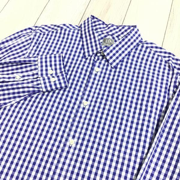 ES12-308 ◆ビッグサイズ・美品◆[GAP ギャップ]チェックシャツ【XL】青,白,カジュアル,デザイン,アメカジ,ブランド