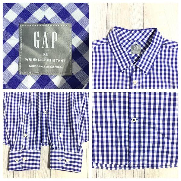 ES12-308 ◆ビッグサイズ・美品◆[GAP ギャップ]チェックシャツ【XL】青,白,カジュアル,デザイン,アメカジ,ブランド_画像4