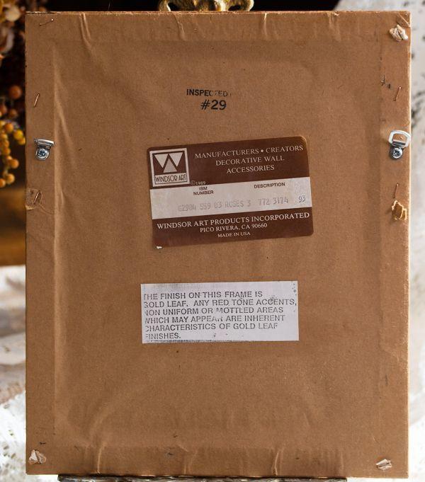 壁掛け額縁 ピンク&レッドローズ Made in USA ウォールフレーム ローズ インテリアディスプレイ什器アンティーク ビンテージ_画像4
