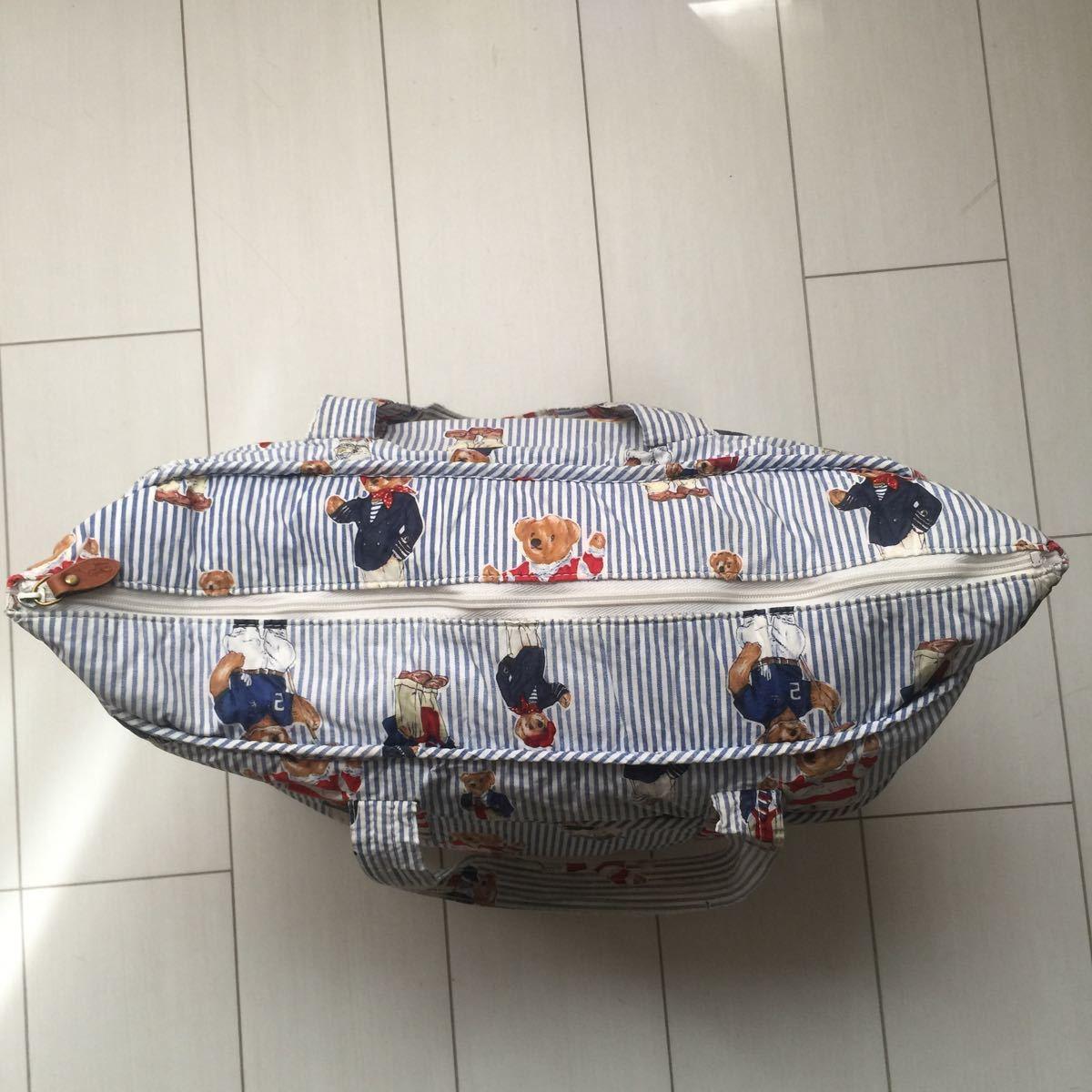 送料無料 90s Ralph laulen ラルフローレン POLO BEAR ポロベア ポロベアー クマ 熊 総柄 大容量 マザーズ トート バッグ bag 鞄 vintage_画像6