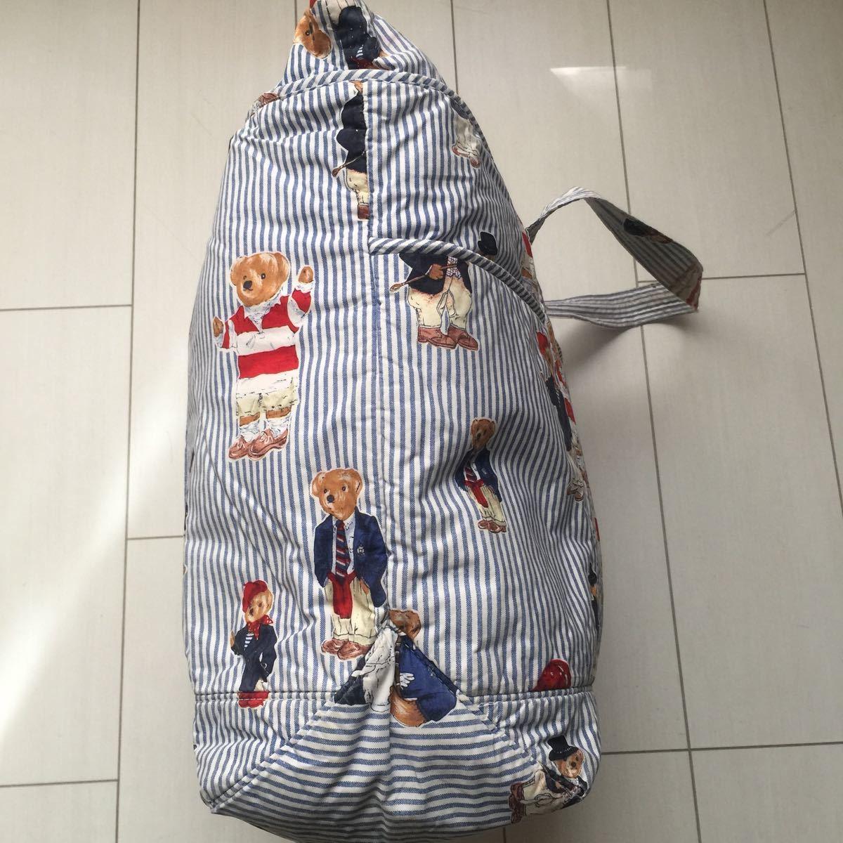 送料無料 90s Ralph laulen ラルフローレン POLO BEAR ポロベア ポロベアー クマ 熊 総柄 大容量 マザーズ トート バッグ bag 鞄 vintage_画像4