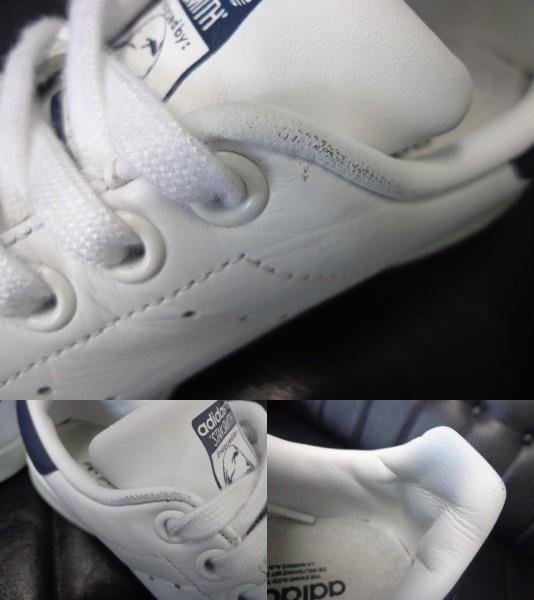 15年製 adidas STAN SMITH アディダス スタンスミス レザー スニーカー US 6 24.0 白 ホワイト 紺 ネイビー_画像10