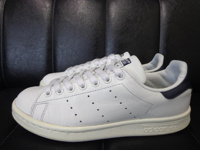 15年製 adidas STAN SMITH アディダス スタンスミス レザー スニーカー US 6 24.0 白 ホワイト 紺 ネイビー_画像2