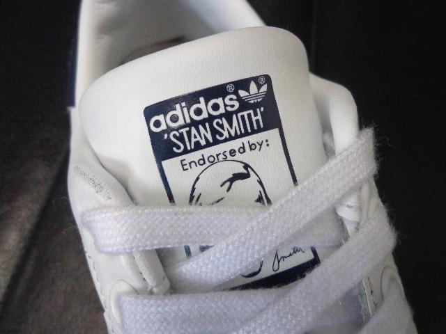 15年製 adidas STAN SMITH アディダス スタンスミス レザー スニーカー US 6 24.0 白 ホワイト 紺 ネイビー_画像6