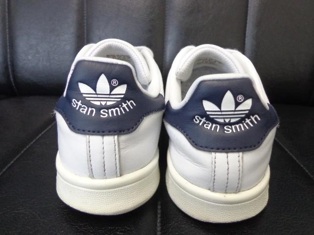 15年製 adidas STAN SMITH アディダス スタンスミス レザー スニーカー US 6 24.0 白 ホワイト 紺 ネイビー_画像4