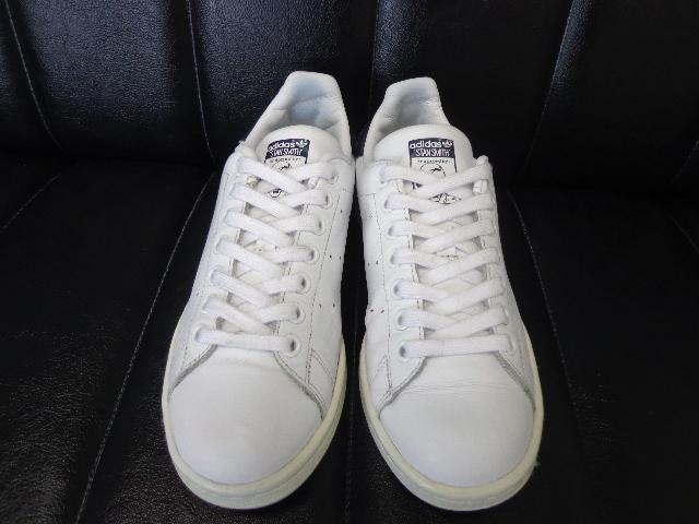 15年製 adidas STAN SMITH アディダス スタンスミス レザー スニーカー US 6 24.0 白 ホワイト 紺 ネイビー_画像3