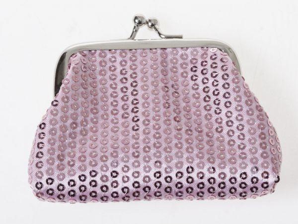 キラキラ スパンコール飾り レディース 女性用 がま口 財布 小銭入れ ミニポーチ Sサイズ#ピンク QZA-37149_画像1