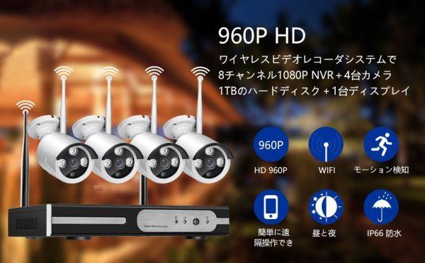 【1スタ】防犯カメラセット ワイヤレスカメラ4台 モニター10.1インチ 130万画素 HDD1TB内蔵 NVR録画機 屋内屋外 【日本語説明書付き】