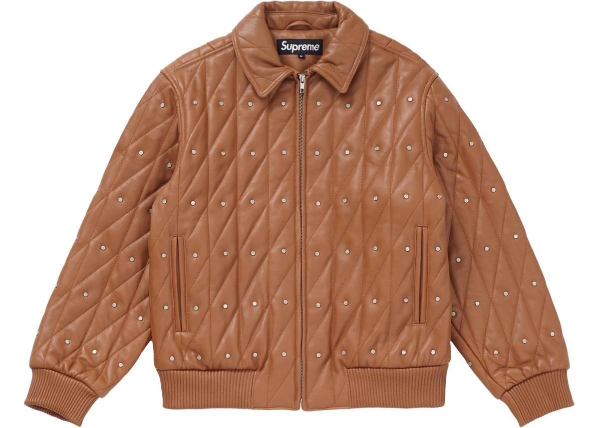 新品 Sサイズ 18AW Supreme Quilted Studded Leather Jacket Light Brown キムタク レザー