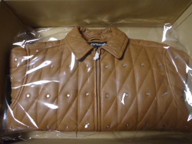 新品 Sサイズ 18AW Supreme Quilted Studded Leather Jacket Light Brown キムタク レザー_画像2