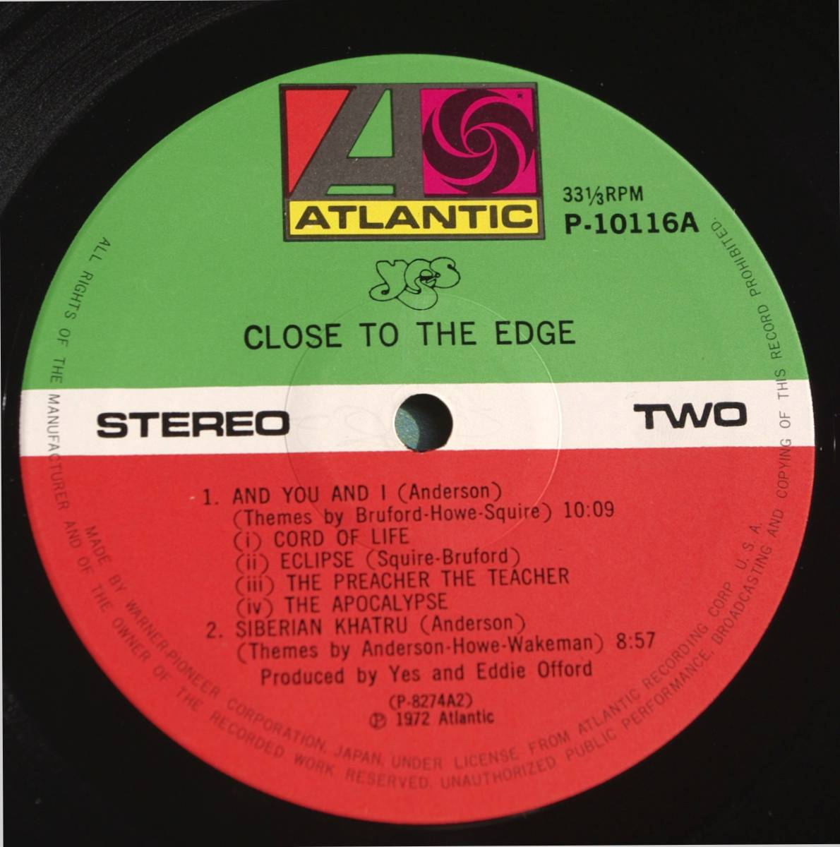 【LP】 YES / CLOSE TO THE EDGE  国内盤_画像4