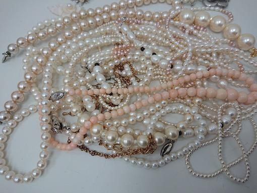 SILVER刻印入り有 ヴィンテージネックレス パール系 アンティーク 大量 まとめて おまとめ まとめ売り ペンダント 真珠 パール 430g_画像3
